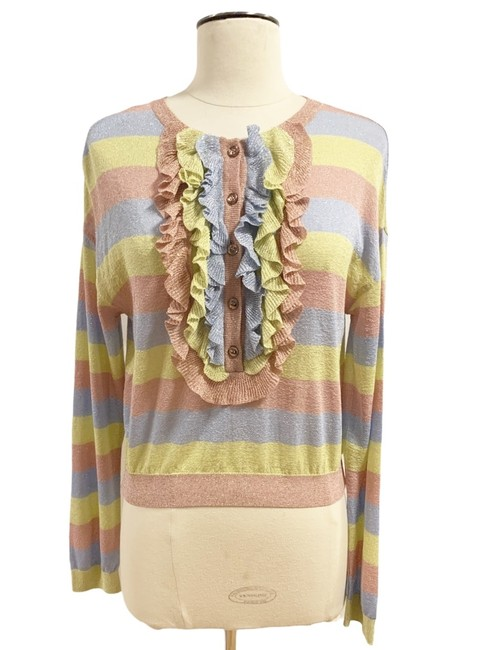 Item - Metallic Blue Pink Yellow Spring Summer Collection Cardigan Size 6 (S)