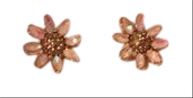 Item - Pink Clear Crystal White Floral Earrings