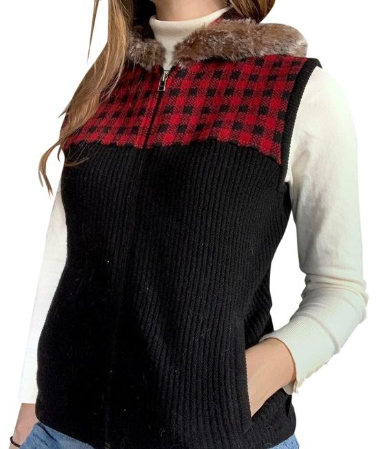 Item - Black Red and Plaid Hooded Vest Size 8 (M)