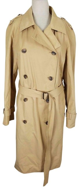 Item - Tan Long Belted Double Breasted Classic Military Coat Size 12 (L)
