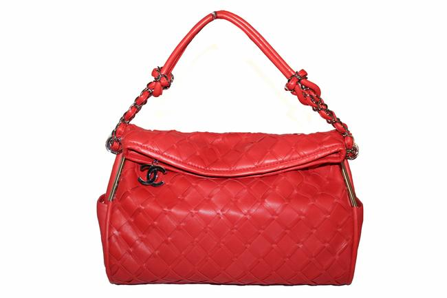 Item - Woven Orange Red Lambskin Leather Hobo Bag
