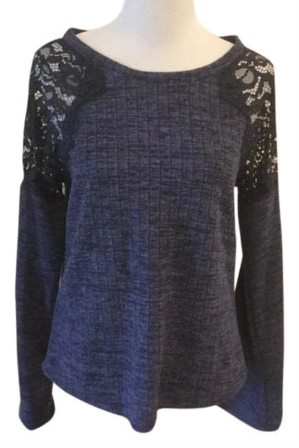Item - Heather Navy Blue & Black Wide Ribbed Lace Blouse Size 12 (L)