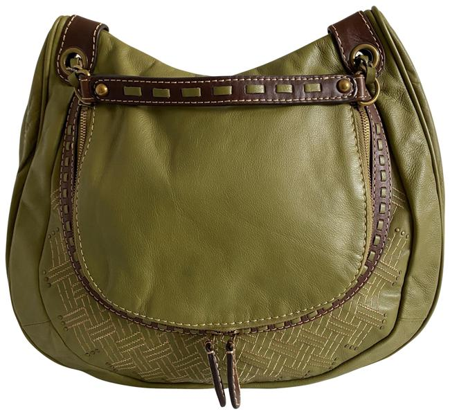 Item - Embroidery Circle Olive Green Leather  Bag