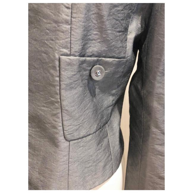 Item - Metallic Silver Grey Silk Cropped Jacket Cc Button Blazer Size 4 (S)