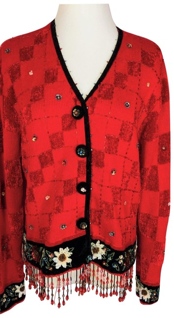 Item - Multicolor Vintage Embroidered Beaded Not So Ugly Christmas Sweater Cardigan Size 10 (M)