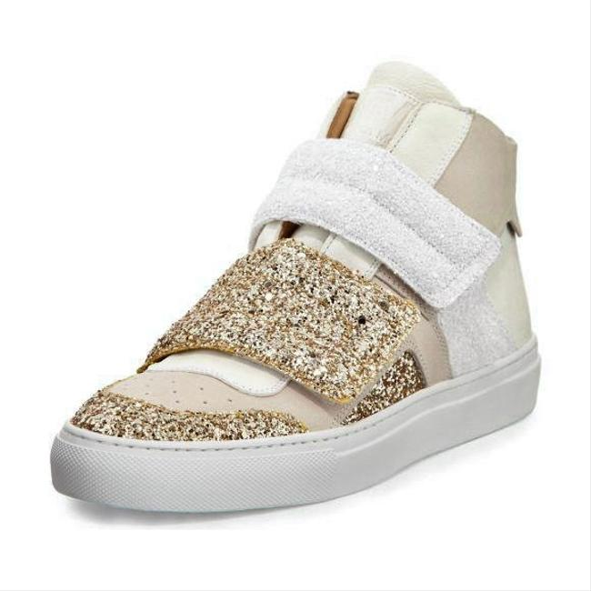 Item - Gold Mm6 Glitter High Top Beige Suede Leather Sneakers Size US 7.5 Regular (M, B)