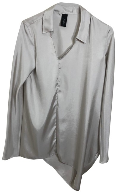Item - Gray Collared Asymmetrical Ruched Tunic Size 8 (M)