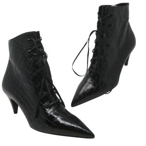 Item - Black Jane Lace Up Croc Embossed Boots/Booties