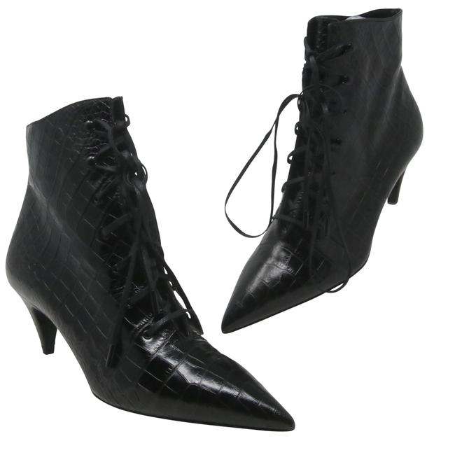 Item - Black Jane Lace Up Croc Embossed Boots/Booties Size EU 37 (Approx. US 7) Regular (M, B)