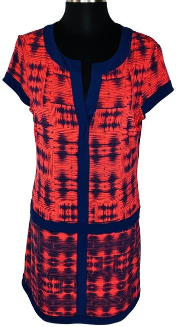 Item - Red Abstract & Blue Print Split Neck Shift Mid-length Short Casual Dress Size 8 (M)