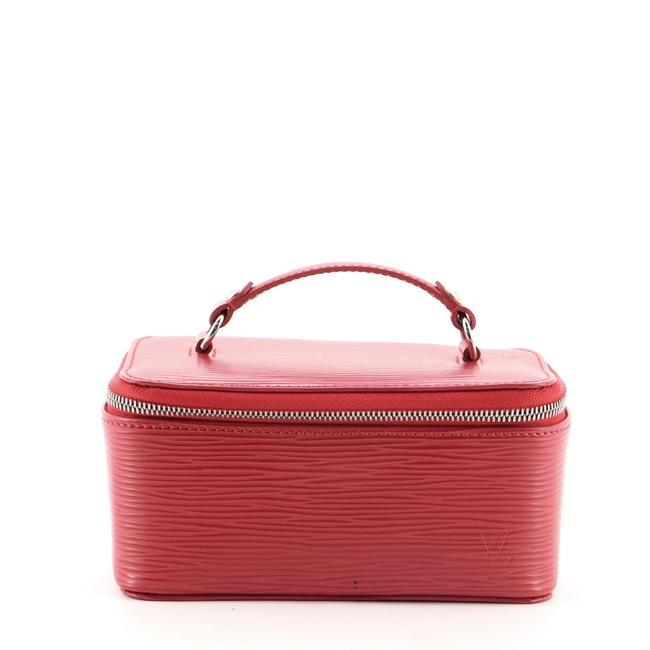 Item - Red Top Handle Jewelry Case Epi Leather Cosmetic Bag