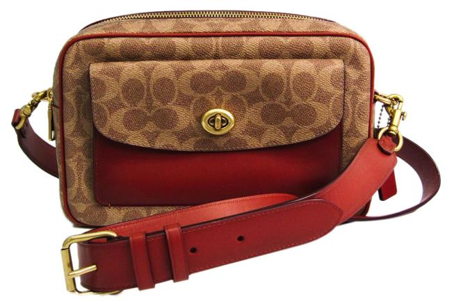 Item - Signature Cassie 640 Women's Beige / Red Brown Coated Canvas / Leather Shoulder Bag
