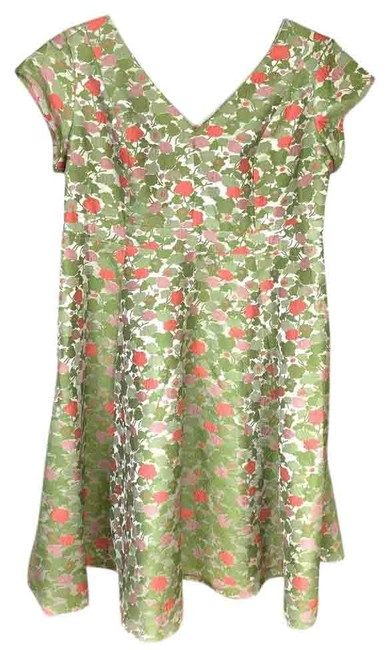 Item - Green 2x/3x Fit N Flare Floral Evening Formal Wedding Mid-length Cocktail Dress Size 26 (Plus 3x)