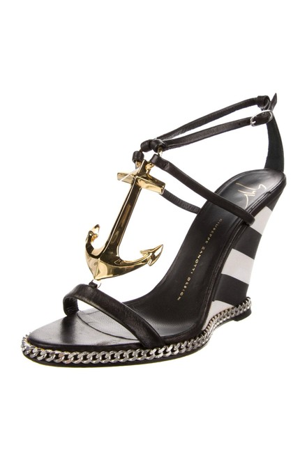 Item - Black White And Chain Anchor Colline Sandals Wedges Size EU 38 (Approx. US 8) Regular (M, B)