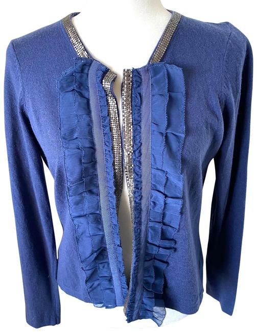 Item - Blue Silver Open Front Cardigan Size 6 (S)