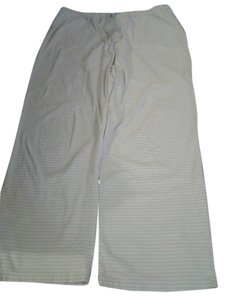 Nautica Striped Wide Leg Pants lite green and white