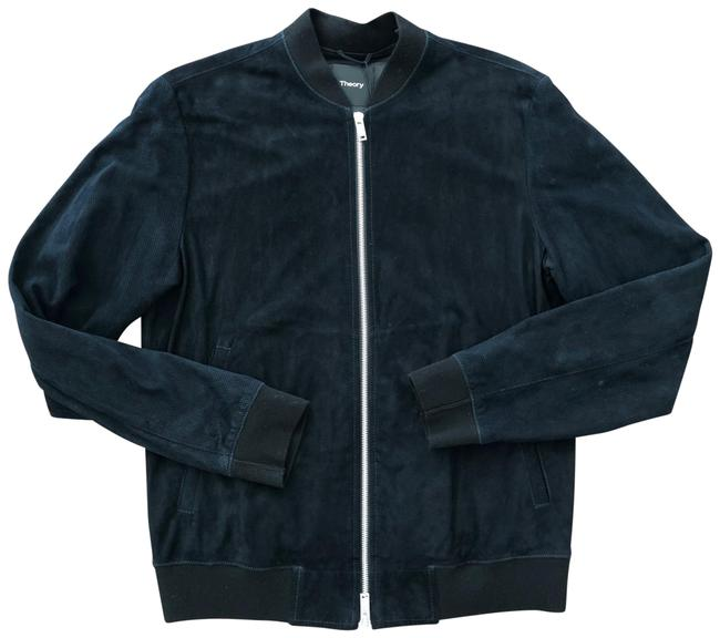 Item - Navy Men's Suede Bomber Jacket Size 4 (S)
