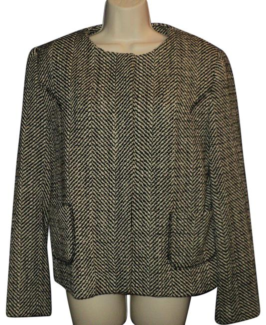 Item - Black and Cream Herringbone In & Cropped Hidden Front Buttons Blazer Size 8 (M)