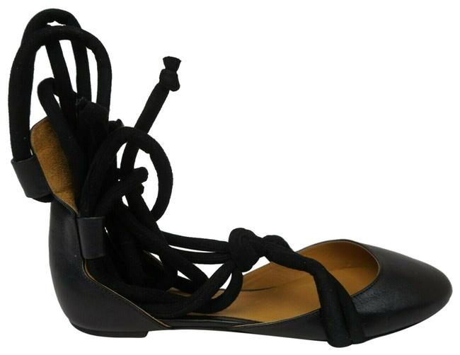 Item - Black Lace-up Leather Ballet Women's Pudding Flats Size EU 37 (Approx. US 7) Regular (M, B)