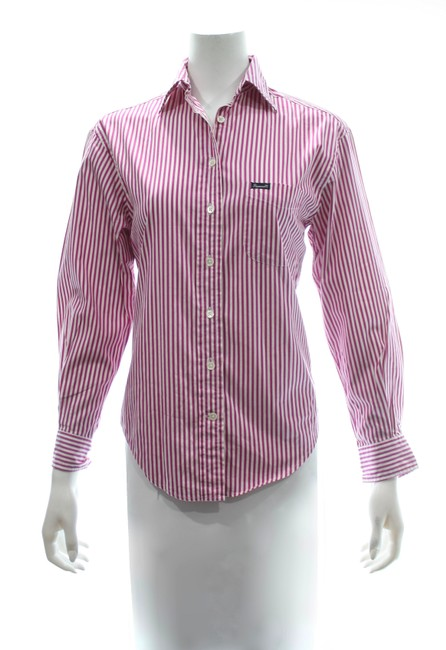 Item - Pink/White Striped Shirt X-small Button-down Top Size 0 (XS)