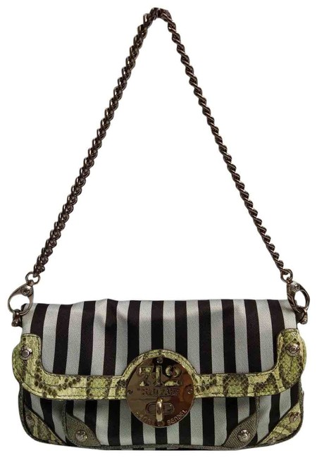 Item - Clutch 712 5th Ave Limited Edition Black/White Stripes Chains Strap Black White Leather Canvas Cross Body Bag