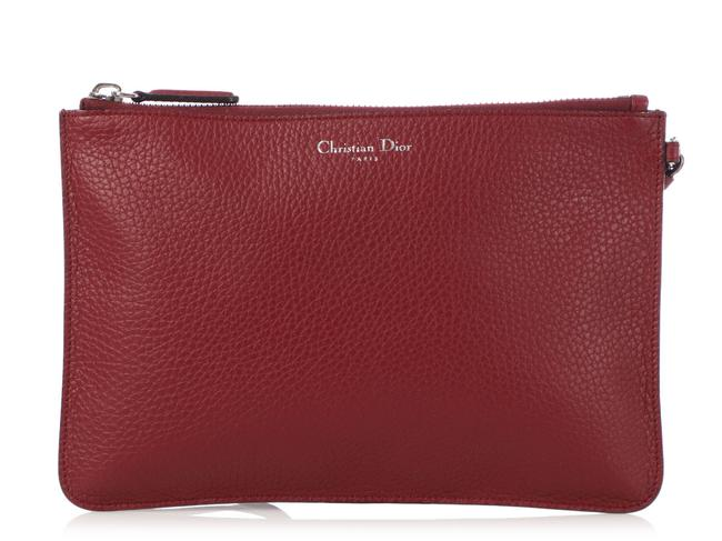 Item - Red Burgundy issimo Leather Zipped Pouch Cosmetic Bag