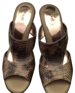 EURO SOFT BY SOFTT Slide Platform Chunky Heeled TAUPE PRINT Platforms