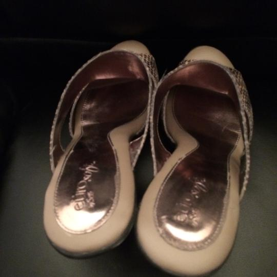 EURO SOFT BY SOFTT Slide Chunky Heeled Comfortable Dancing TAUPE PRINT Platforms