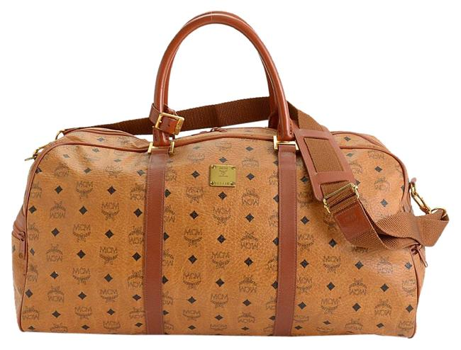 Item - Rdc11268- Visetos Boston Cognac Brown Coated Canvas/Leather Weekend/Travel Bag