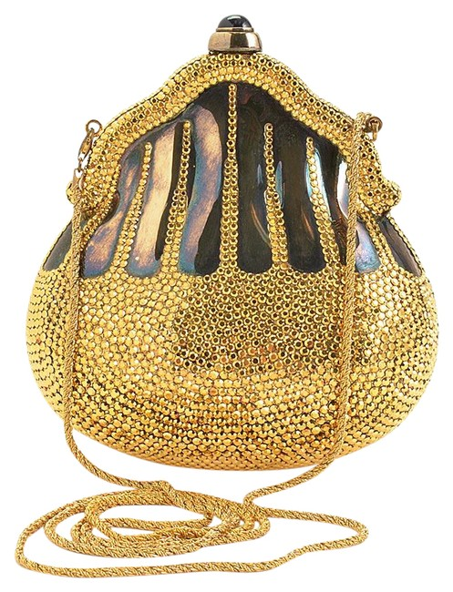 Item - Evening Bag Rdc11270- Minaudiere Chatelaine Gold Metal/Crystals/Leather Clutch
