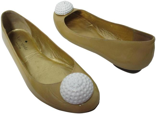 """Item - Taupe & White """"Tee"""" Golf Ball Ballet Patent Leather Round Toe M Flats Size US 6.5 Regular (M, B)"""