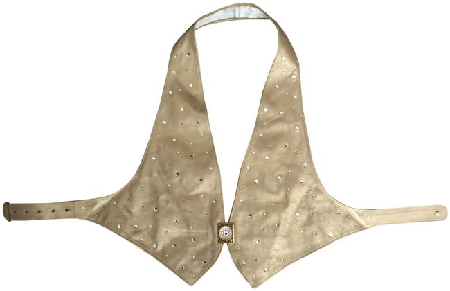 Item - Gold and Rhinestone Leather Halter Top Size 6 (S)