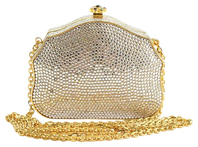 Item - Box Rdc11272- Cabochon Jewels Minaudiere Silver/Gold Metal/Crystals/Leather Clutch