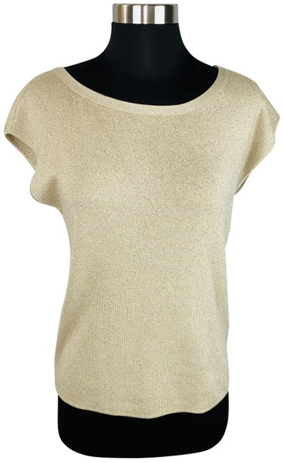 Item - Short Sleeve Accented Shimmer Knit Tan & Gold Sweater