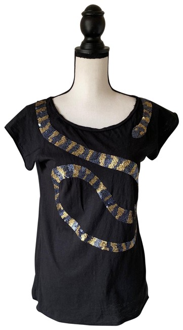 Item - Black Gold & Silver XS Sequin Snake / Tee Shirt Size 2 (XS)