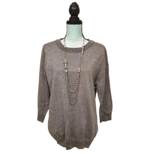 Item - XL Metallic 3/4 Knitted Gray Size Silver Sweater