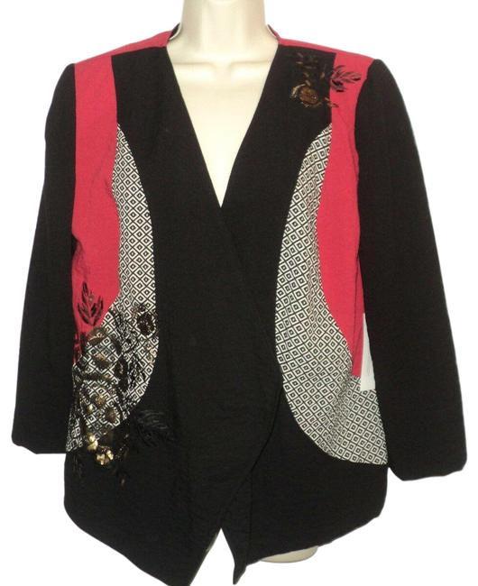 Item - Black Red Light Gray Pieced Artisan Pattern Sequin Accents Color Blazer Size 10 (M)