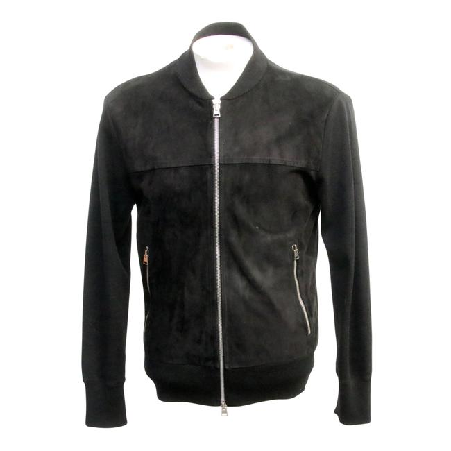 Item - Black Leather Suede Zip Up Jacket Suede Made In Italy Tuxedo