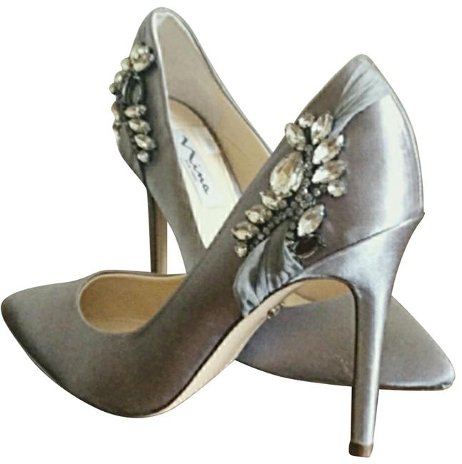 Item - Gray Satin Embroidered Formal Shoes Size US 7.5 Regular (M, B)