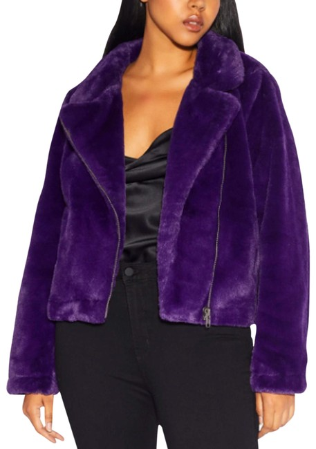 Item - Purple L Tukio Faux Moto Jacket Large Violet Teddy Bear Coat Size 12 (L)