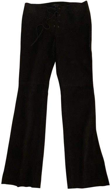 Item - Black And Suede Pants Size 6 (S, 28)