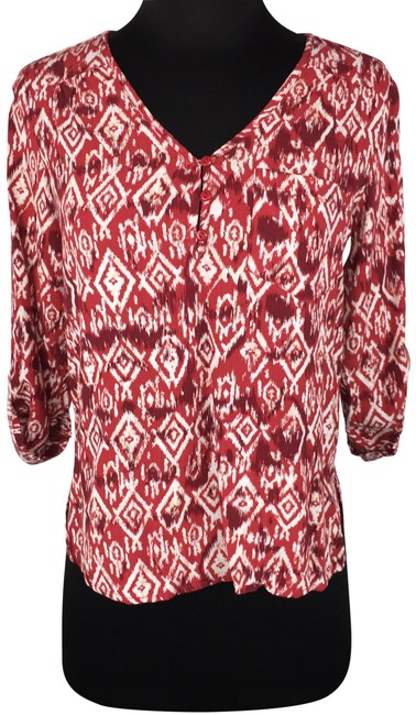 Item - Multicolor XS Stitch Fix Rayon Patterned Popover Roll Tab Sleeves Blouse Size 0 (XS)