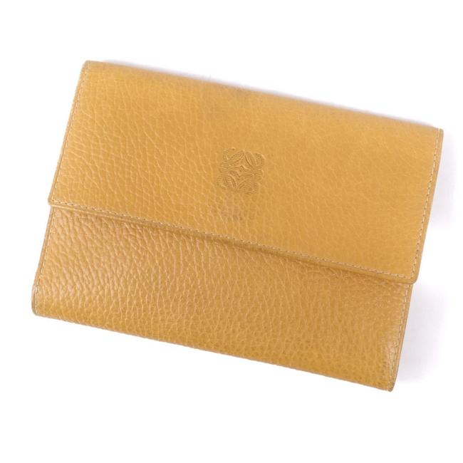 Item - Light Brown / Yellow Anagram Tri-fold Calf Leather Ladies Wallet