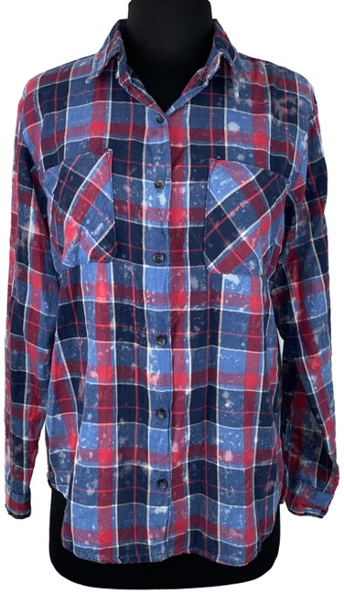 Item - Multicolor -softvanillastar- Juniors S Plaid Bleached Patterned Shirt Button-down Top Size 6 (S)