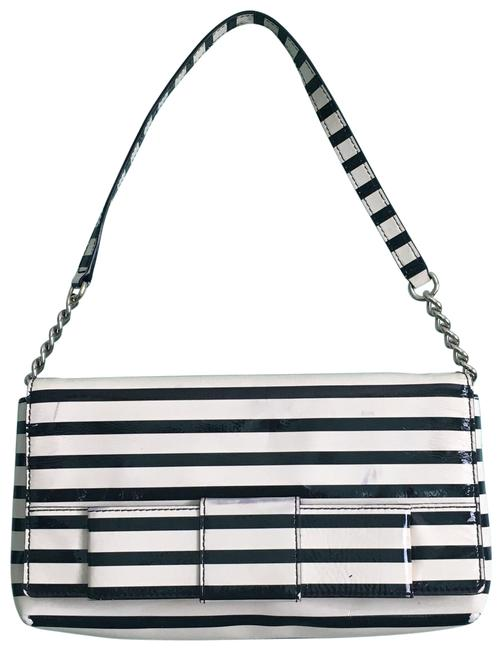 Item - Stripped Cream and Black Patent Leather Shoulder Bag