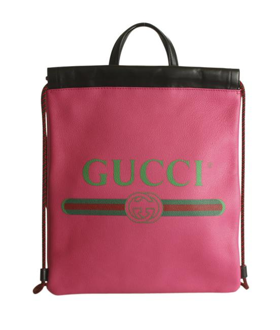 Item - Pink Backpack 523586 Small Logo Drawstring Leather (192426)
