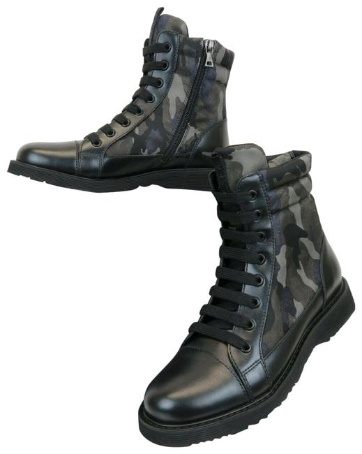 Item - Gray 0t0782 Kids Camouflage Leather Lace Up Combat Boots/Booties Size EU 37 (Approx. US 7) Regular (M, B)