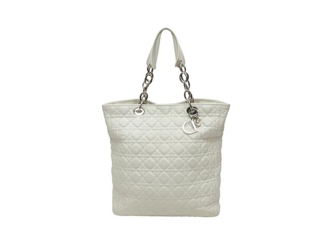 Item - Vintage Christian Cannage Soft Shopper White Leather Tote