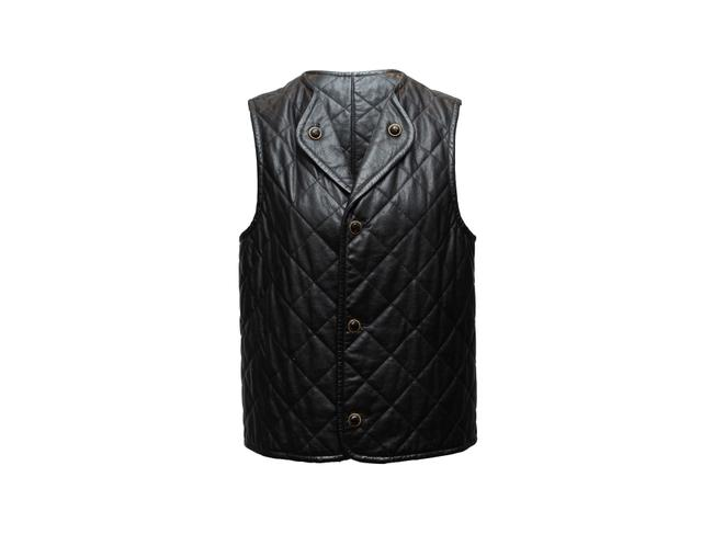 Item - Black Vintage Quilted Leather Vest Size 8 (M)