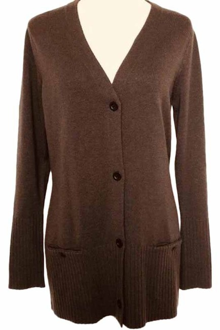 Item - Chocolate Brown Wool Blend Ribbed Long Line Cardigan Size 14 (L)